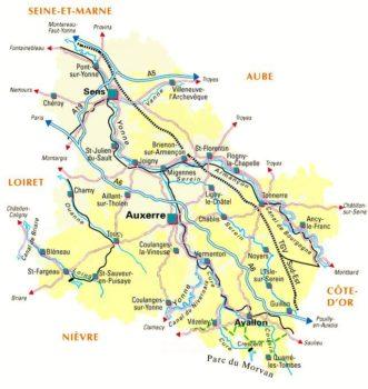 carte de l'accessibilite de l'yonne pour yonne developpement et yonne equipement faciliter l'implantation des entreprises à deux de paris auxerre